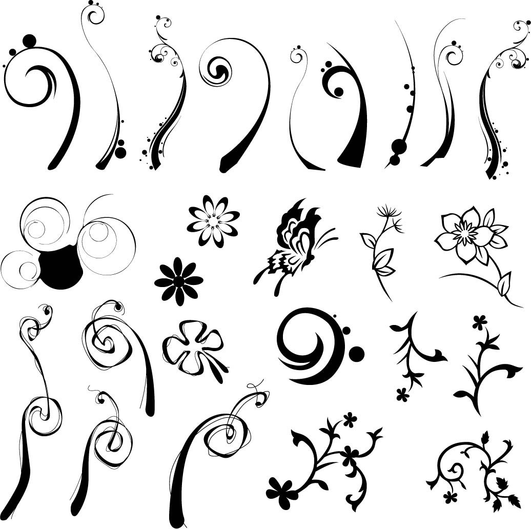 1036x1032 Floral Flowers Vector Vintage Ornamental Design Elements Digital