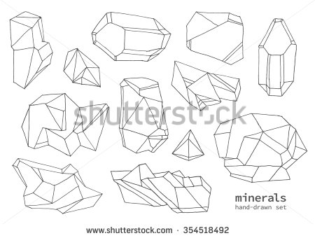 450x340 Set Of Hand Drawn Line Art Polygonal Crystals. Vector Graphics