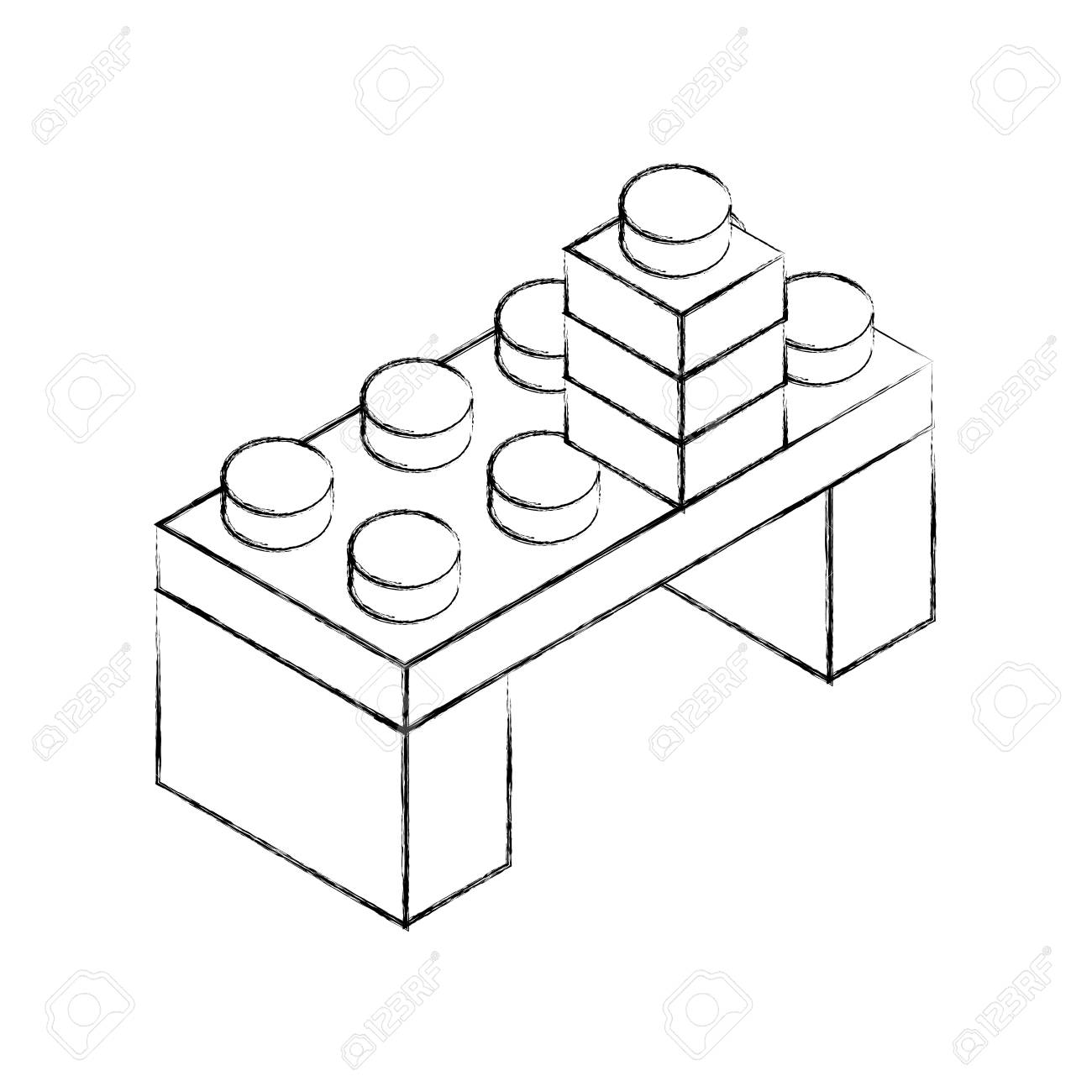 1300x1300 Sketch Draw Toy Building Block Bricks Vector Graphic Design