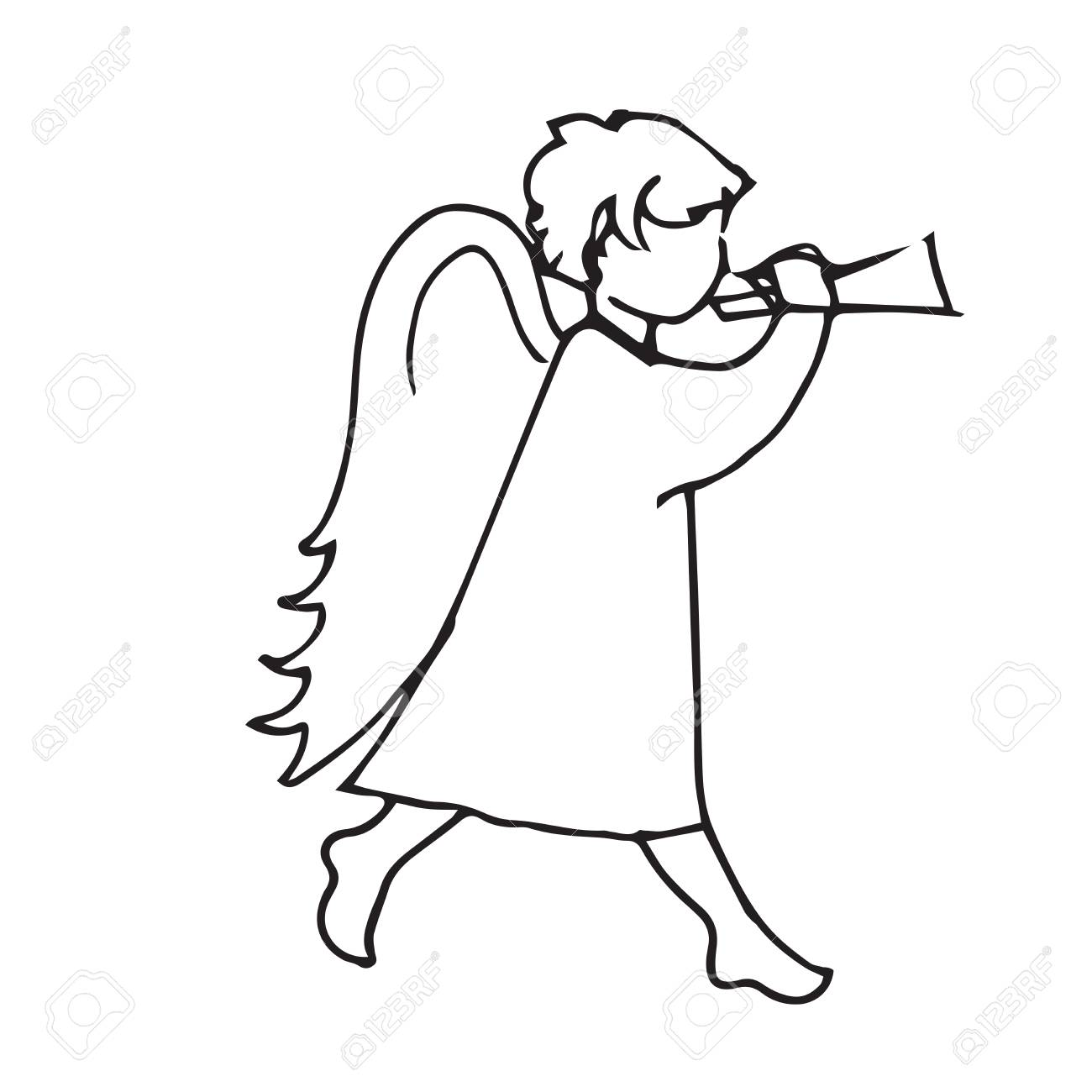 1300x1300 Angel Cute Little Man To Play The Trumpet. Sketch Hand Drawing