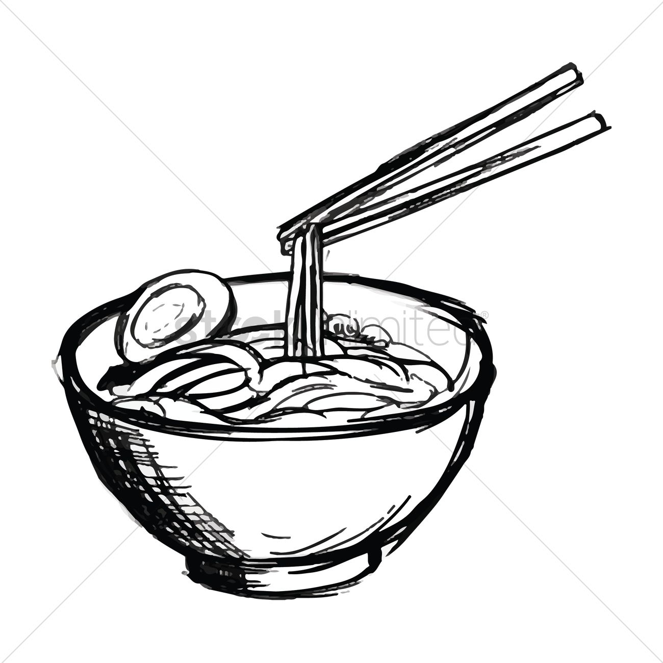 1300x1300 Bowl Of Noodles Vector Image