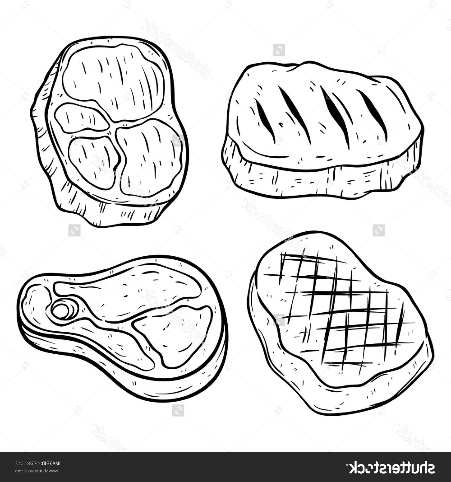1500x1600 Hd Stock Vector Set Of Beef Steak With Hand Drawing Or Line Art