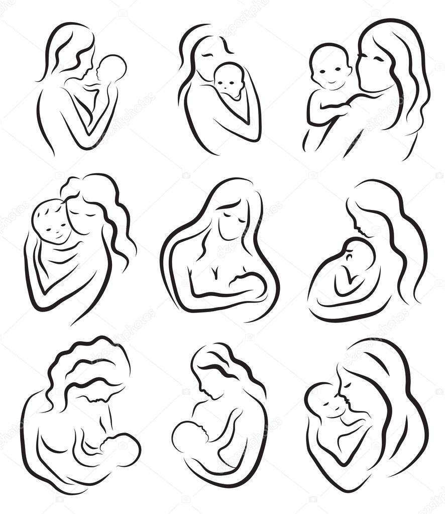 886x1023 Set Silhouette Sketch Mother And Child, Mother Holding A Baby