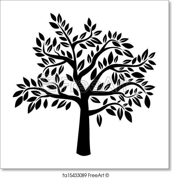 561x581 Free Art Print Of Vector Tree. Silhouette Of Tree On White