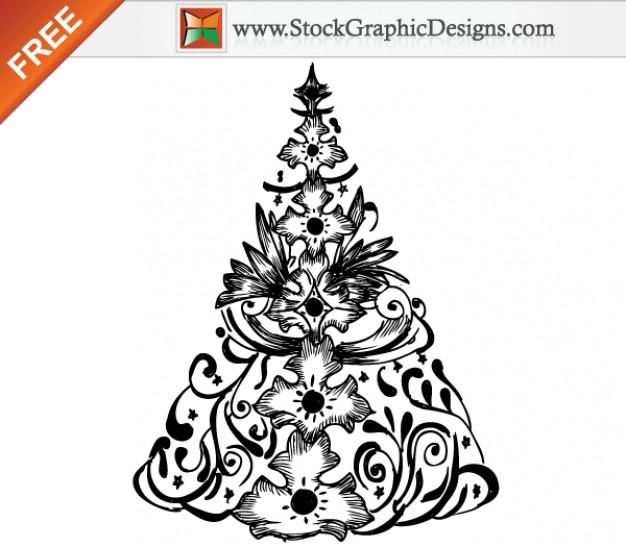 626x547 Hand Drawn Christmas Tree Free Vector Illustration Vector Free