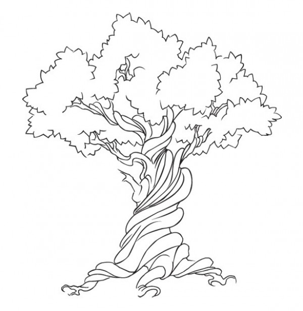 600x616 Hand Drawn Twisted Tree Vector Graphic