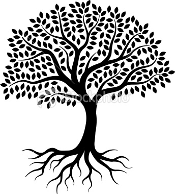 344x380 A Simple Graphic Tree, Drawn On 3 Layers, With Leaves, Branches