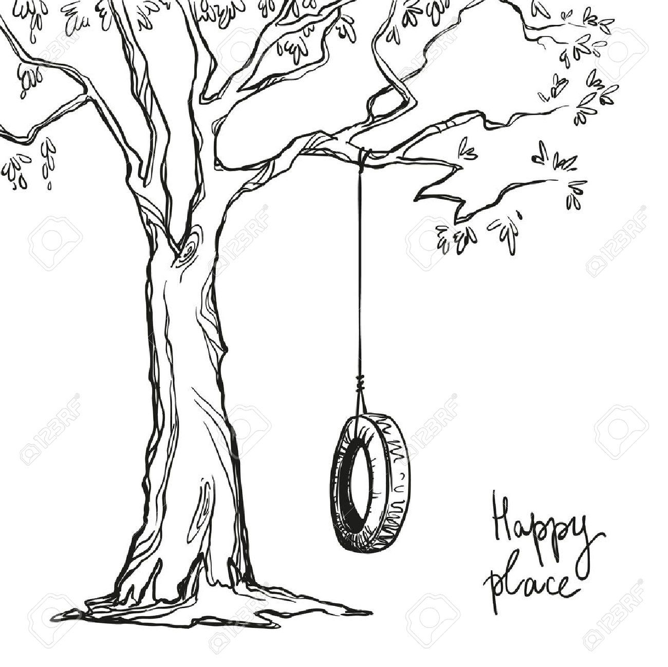 1300x1298 Tree With A Tyre Swing. Vector Illustration. Royalty Free Cliparts
