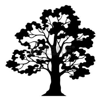 350x350 Oak Tree Silhouette Oak Tree Pictogram, Black Silhouette
