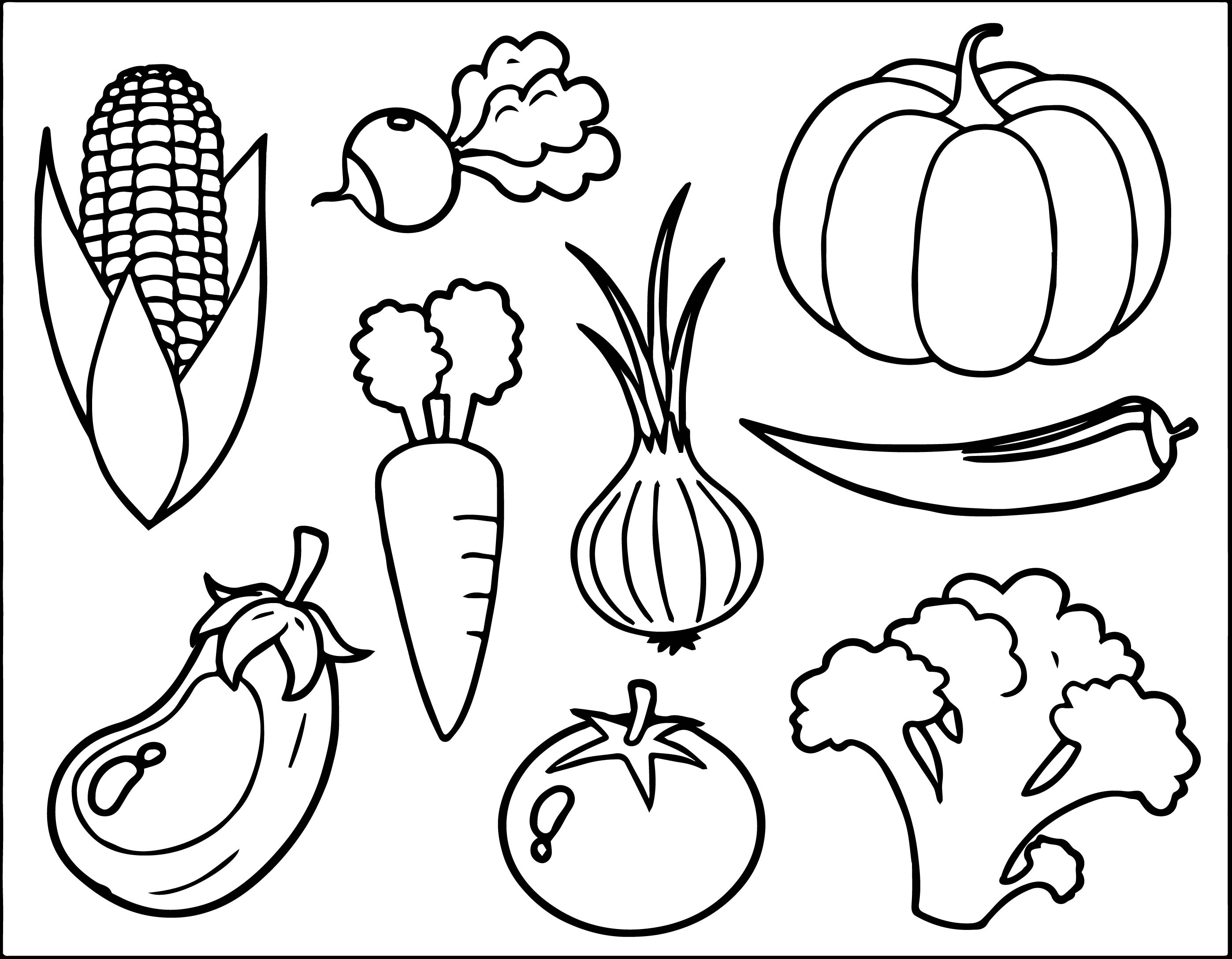 2795x2177 Vegetables Coloring Pages Printable In Good Page Free Vegetable