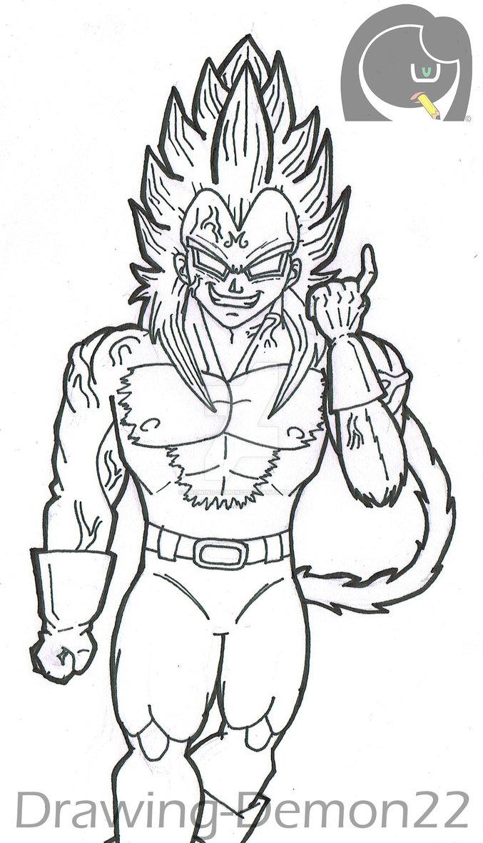 677x1180 Majin Vegeta Ssj 4 By Drawing Demon22