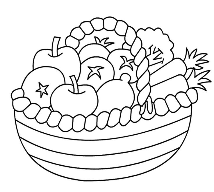 736x663 Drawn Vegetable Basket Drawing