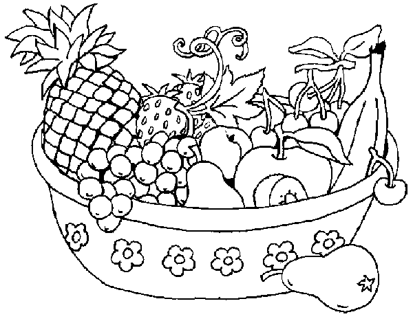 600x467 Free Download Fruits Basket Coloring Page For Kids