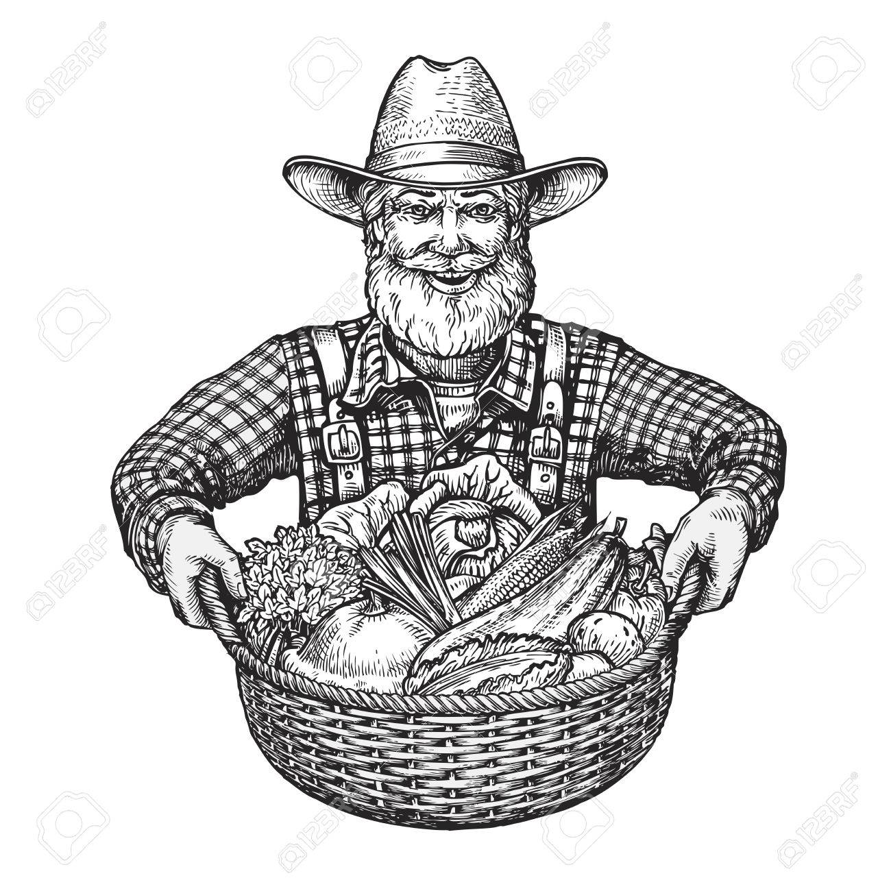 1300x1300 Happy Farmer With A Basket Of Vegetables. Hand Drawn Sketch Vector