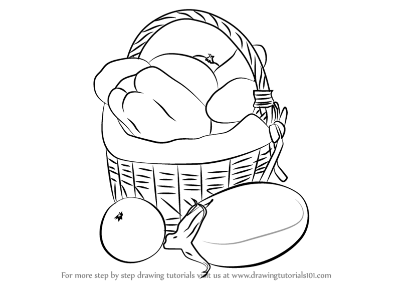 800x567 Learn How To Draw Vegetable Basket Easy (Vegetables) Step By Step