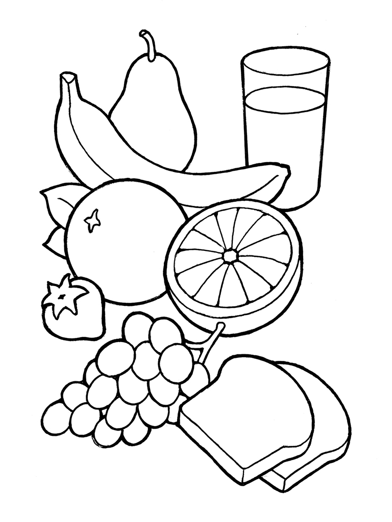 768x1024 Vegetable Basket Coloring Page