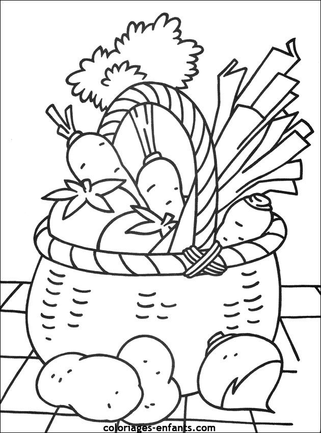 630x850 Basket Of Vegetables Clipart Black And White