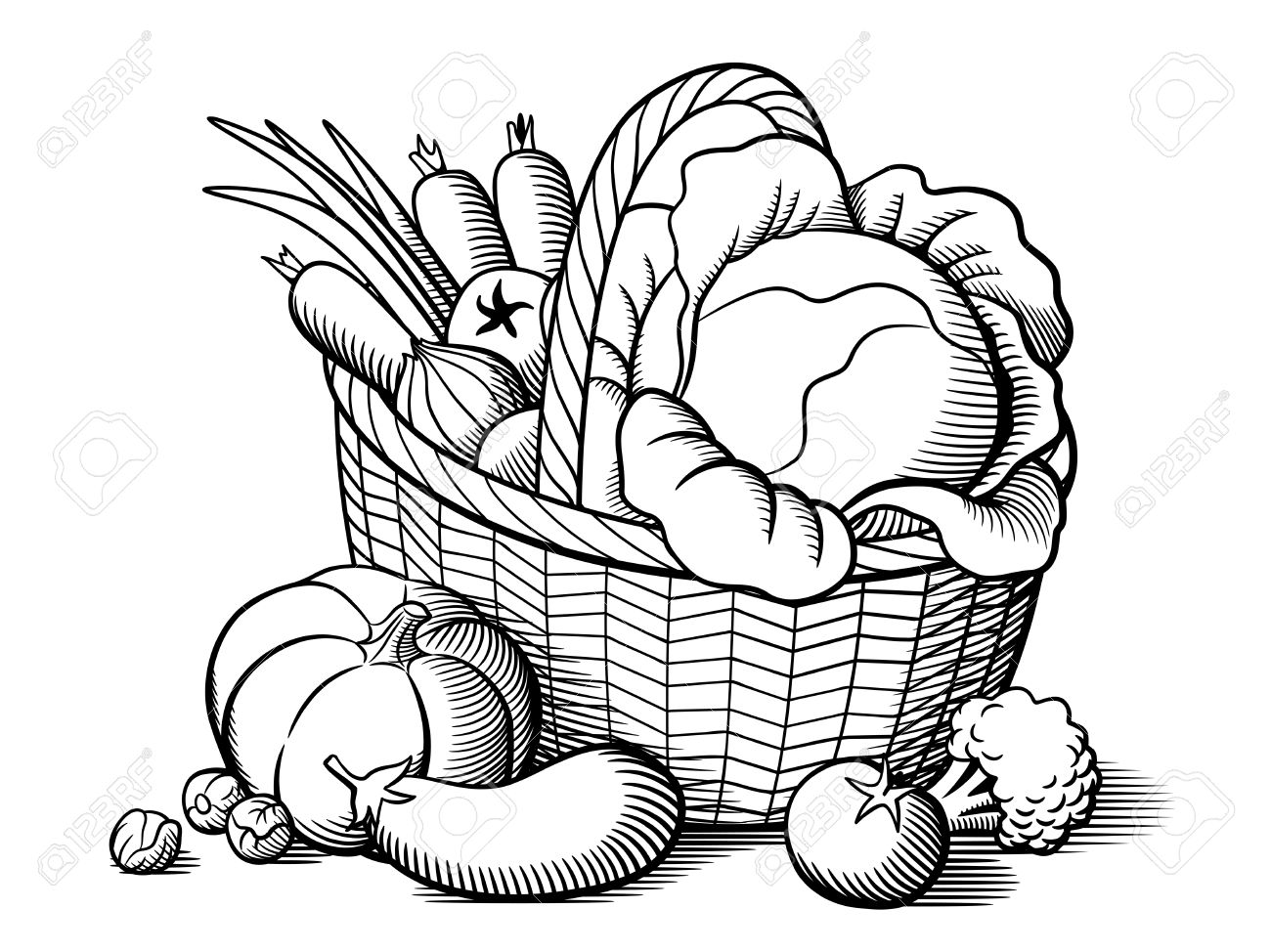 1300x974 Basket With Vegetables. Stylized Black And White Vector