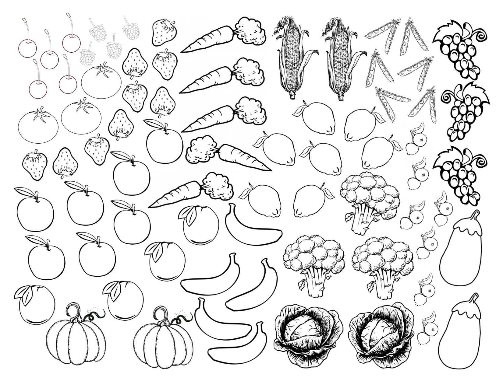 1651x1275 Fruits And Vegetables Coloring Sheet