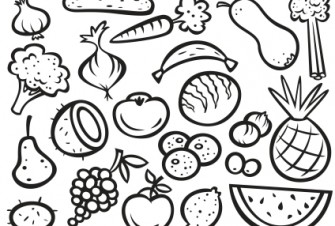 335x226 Extraordinary Idea Fruit And Vegetables Coloring Pages