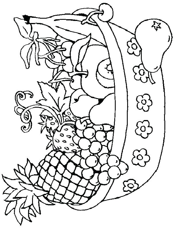 618x794 Fruit And Vegetable Coloring Pages Fruit Basket Coloring Pages
