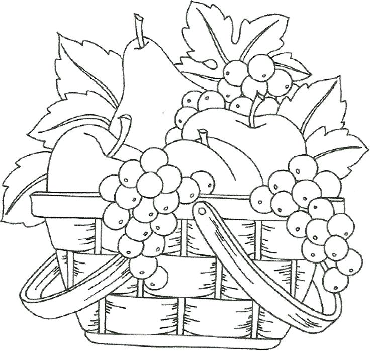 736x698 Fruit Basket Coloring Pages Vegetables Basket Coloring Pages Free