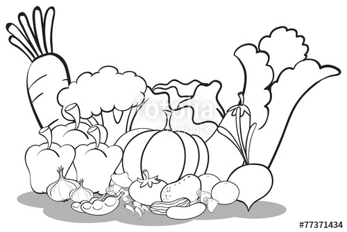500x335 Vegetable Basket Drawing. Coloring Vegetables Coloring Pages