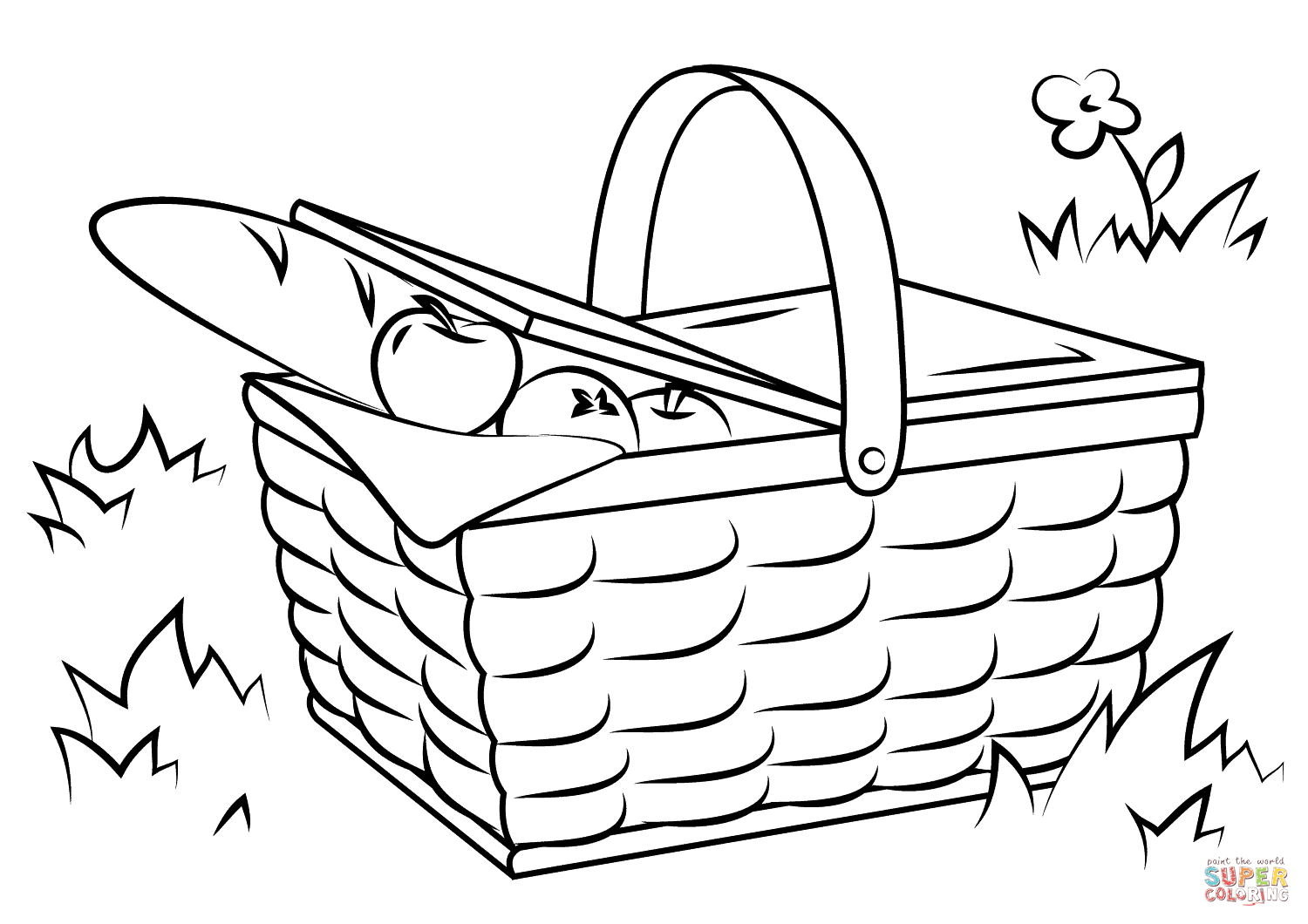 1500x1060 Basket Of Food Coloring Page Basket Of Vegetables Coloring Page