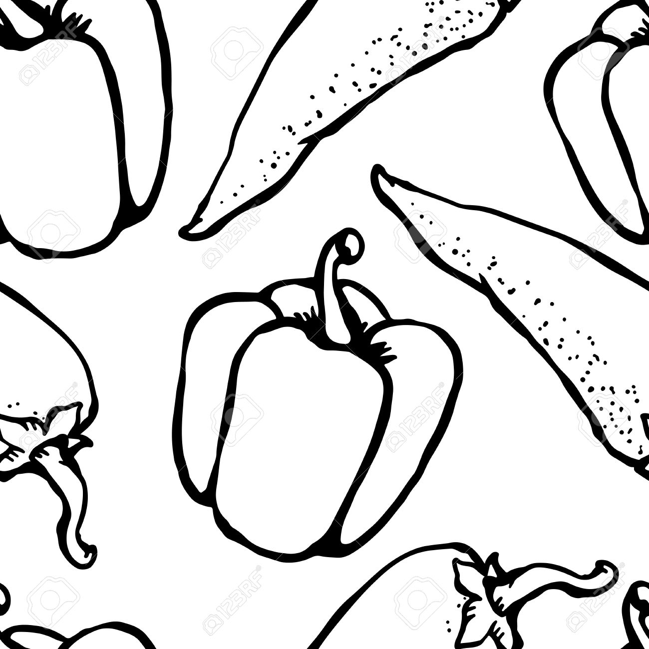 1300x1300 Red Hot Chili Pepper And Bell Pepper Doodle, Cartoon Drawing