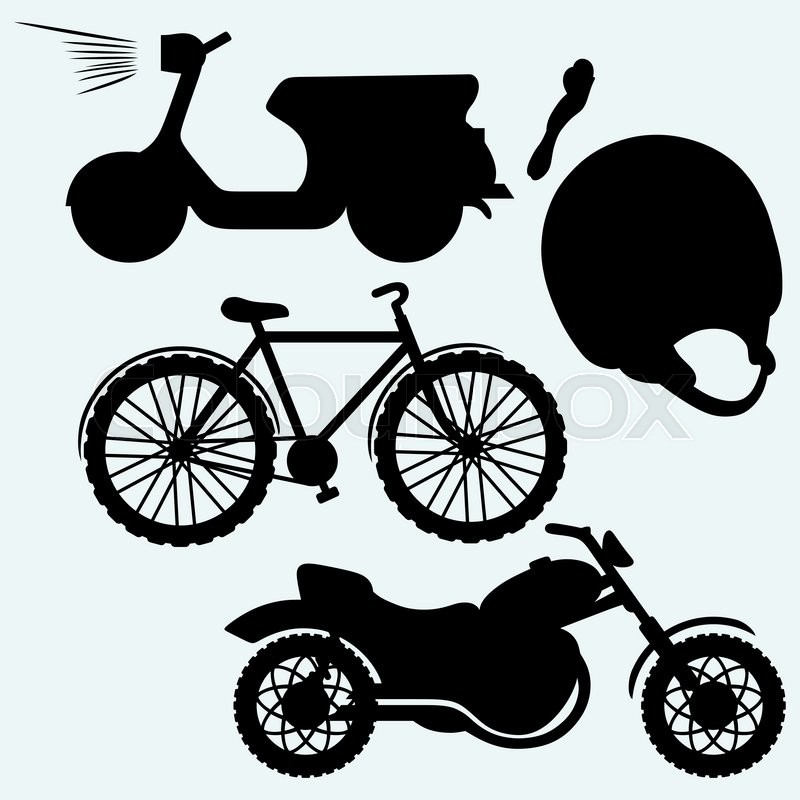 800x800 Two Wheeled Vehicles Bicycle, Motorcycle Or Moped. Isolated