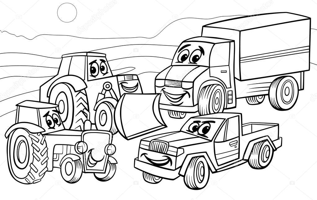 1023x648 Vehicles Machines Cartoon Coloring Page Stock Vector Izakowski