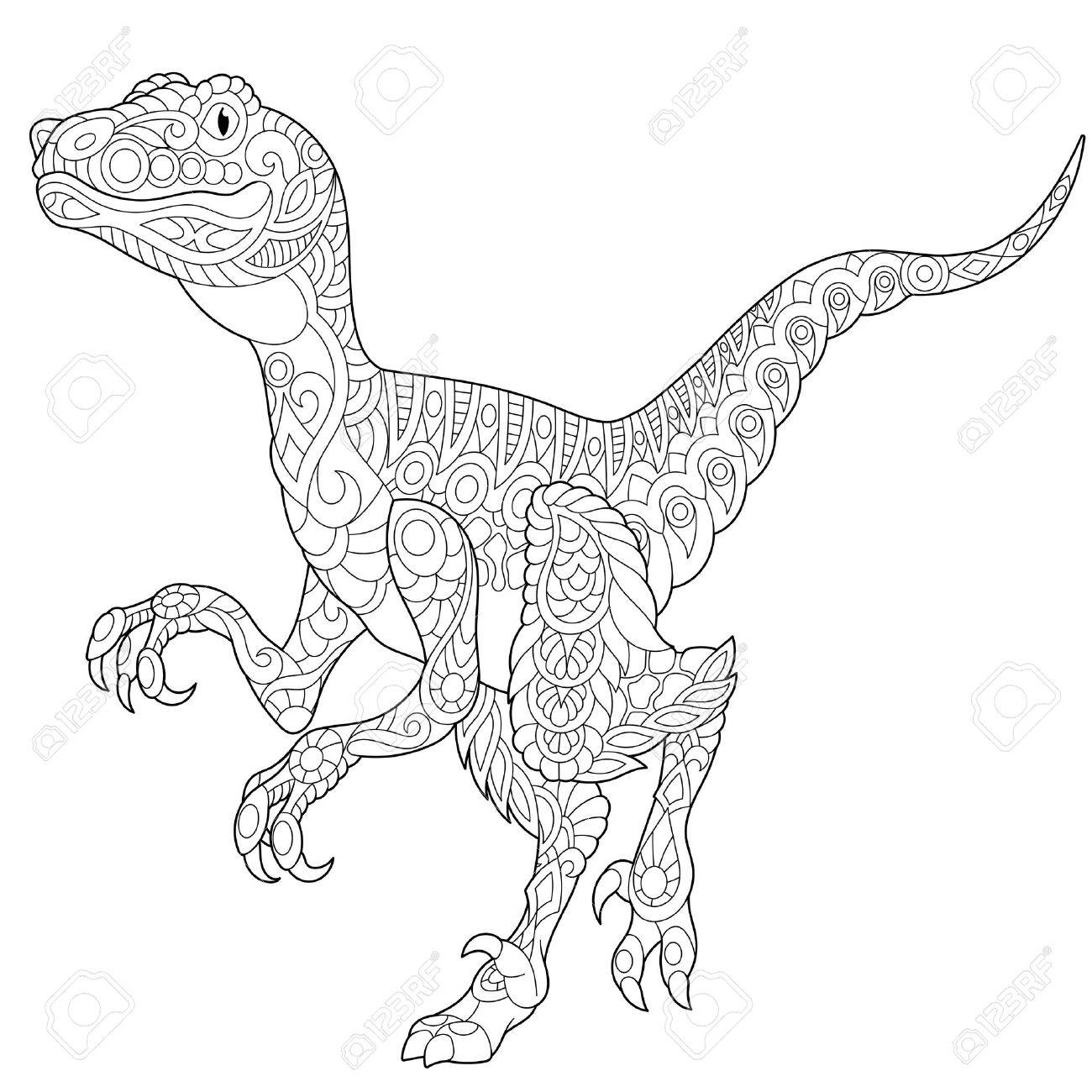 1300x1300 Stylized Velociraptor Dinosaur Of The Late Cretaceous Period
