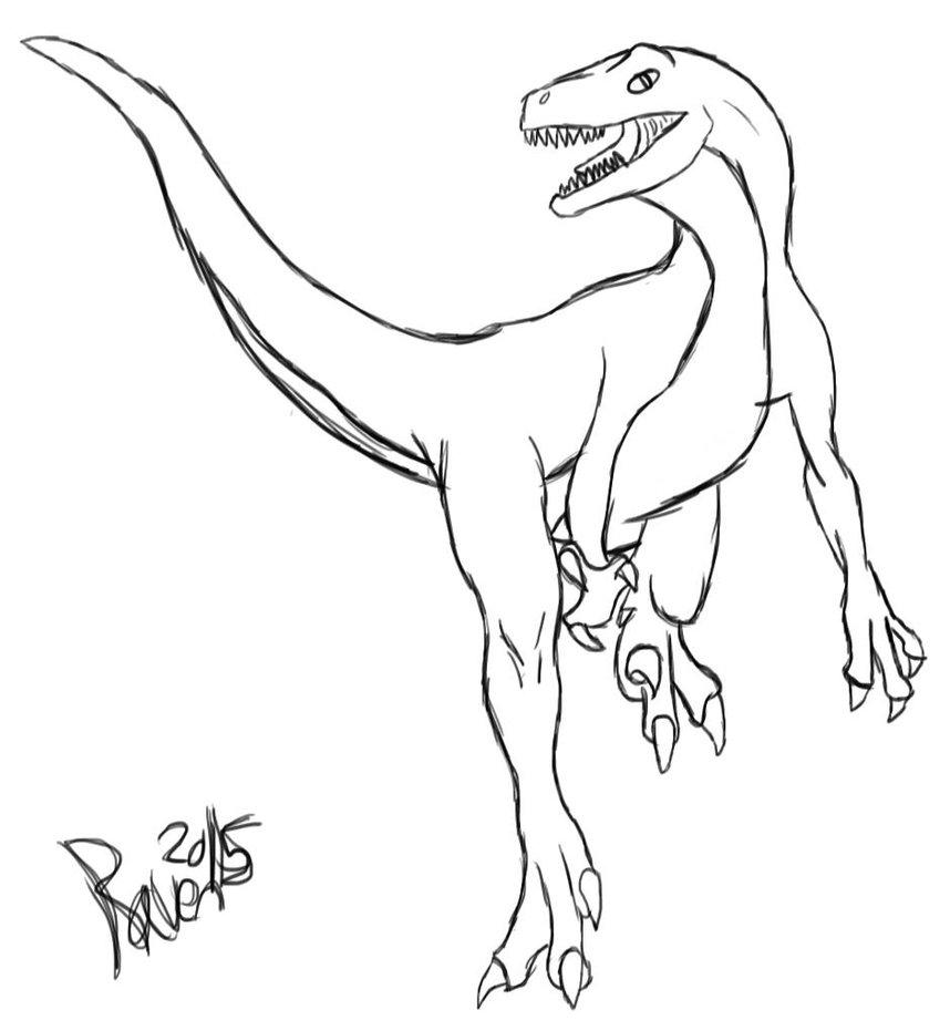 858x931 Velociraptor Sketch By Zombie52dreams