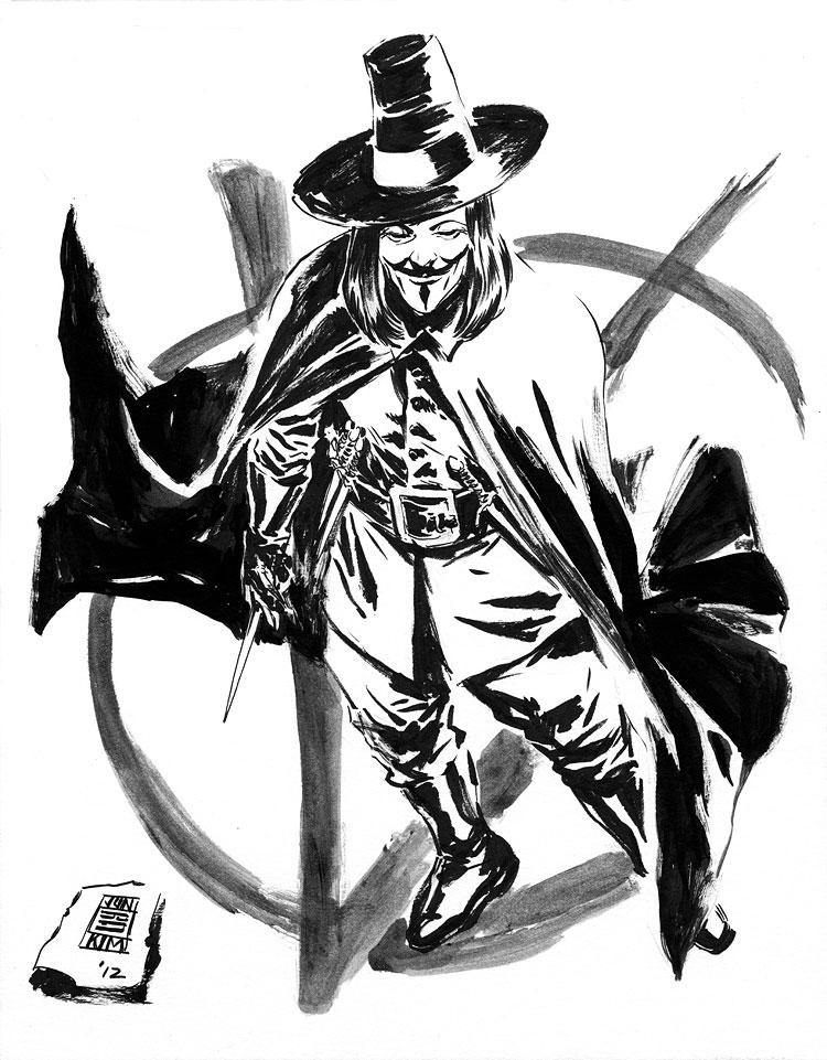 750x961 Sketch V For Vendetta Jun Bob Kim Draws Comic Art, Commissions