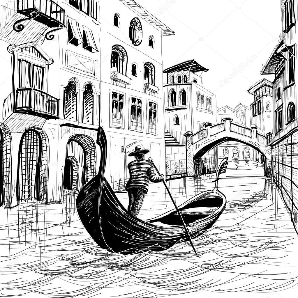 1023x1024 Gondola In Venice Vector Sketch Stock Vector Danussa