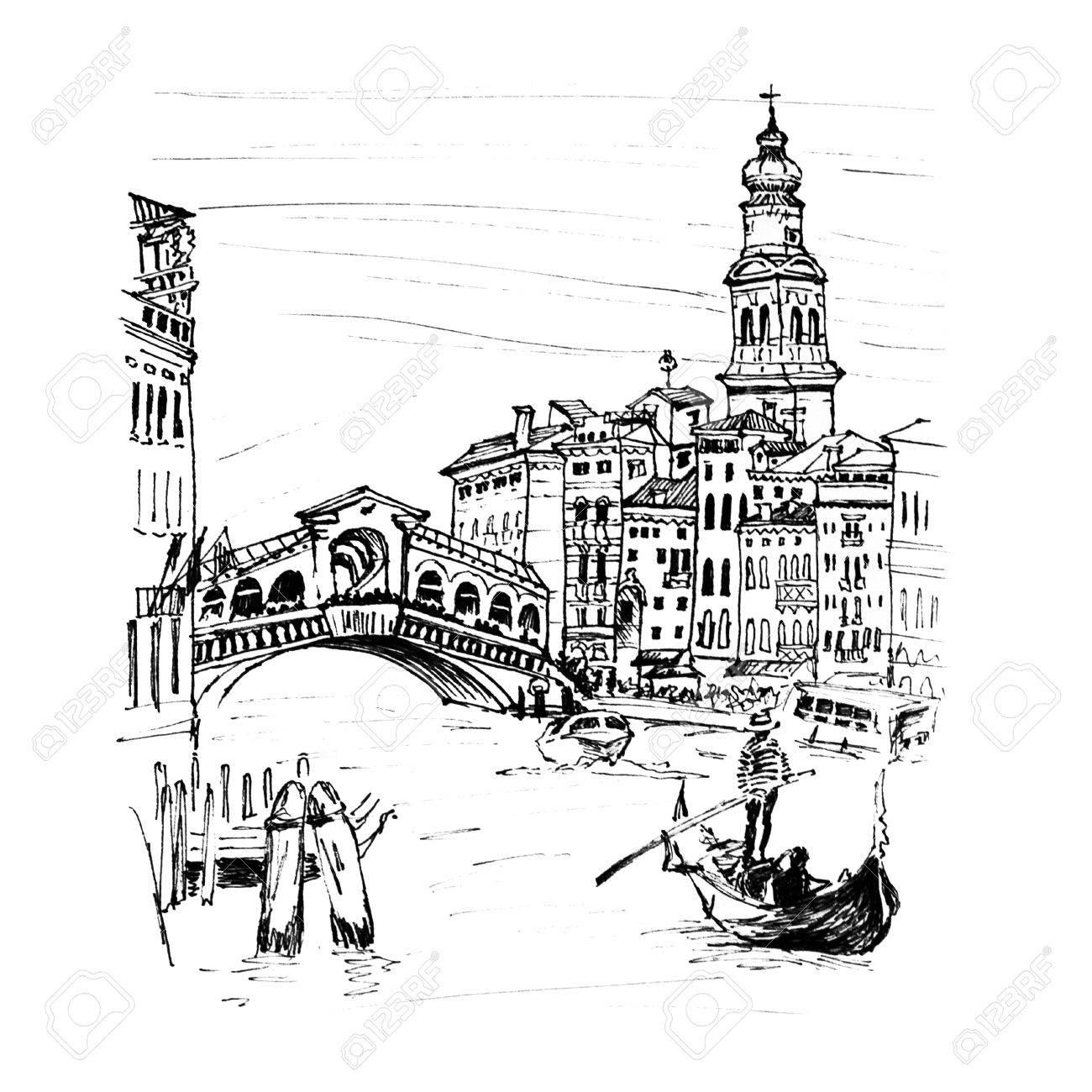 1300x1300 Grand Canal Near Bridge Ponte Di Rialto In Sketch Style, Venice
