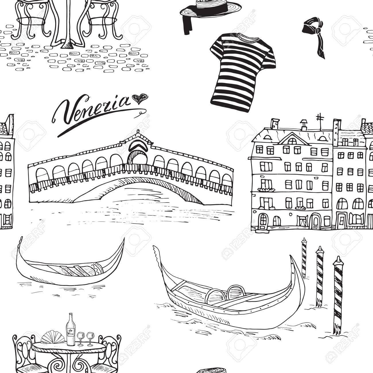 1300x1300 Venice Italy Seamless Pattern. Hand Drawn Sketch With Gondolas