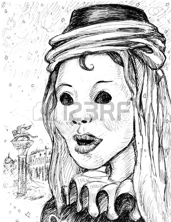 347x450 Carnival Mask In Venice Hand Drawing Stock Photo, Picture