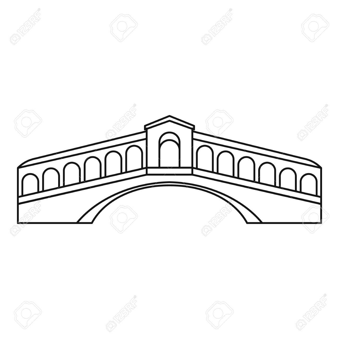 1300x1300 Rialto Bridge In Venice Icon. Outline Illustration Of Rialto