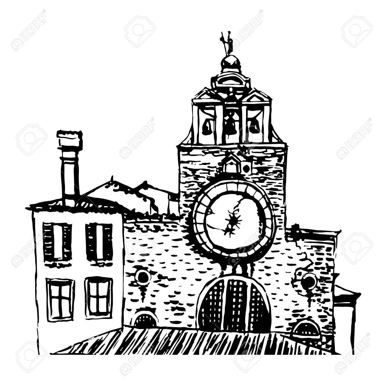 1300x1300 Church San Giacomo Di Rialto Sketch Illustration Royalty Free