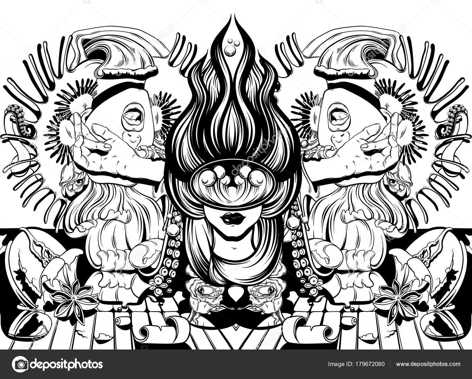 1600x1285 Vector Hand Drawn Illustration Screaming Girl Tentacles Roses
