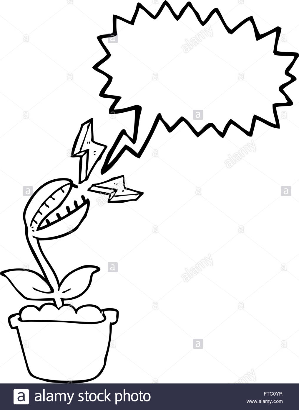1016x1390 Freehand Drawn Speech Bubble Cartoon Venus Fly Trap Stock Vector