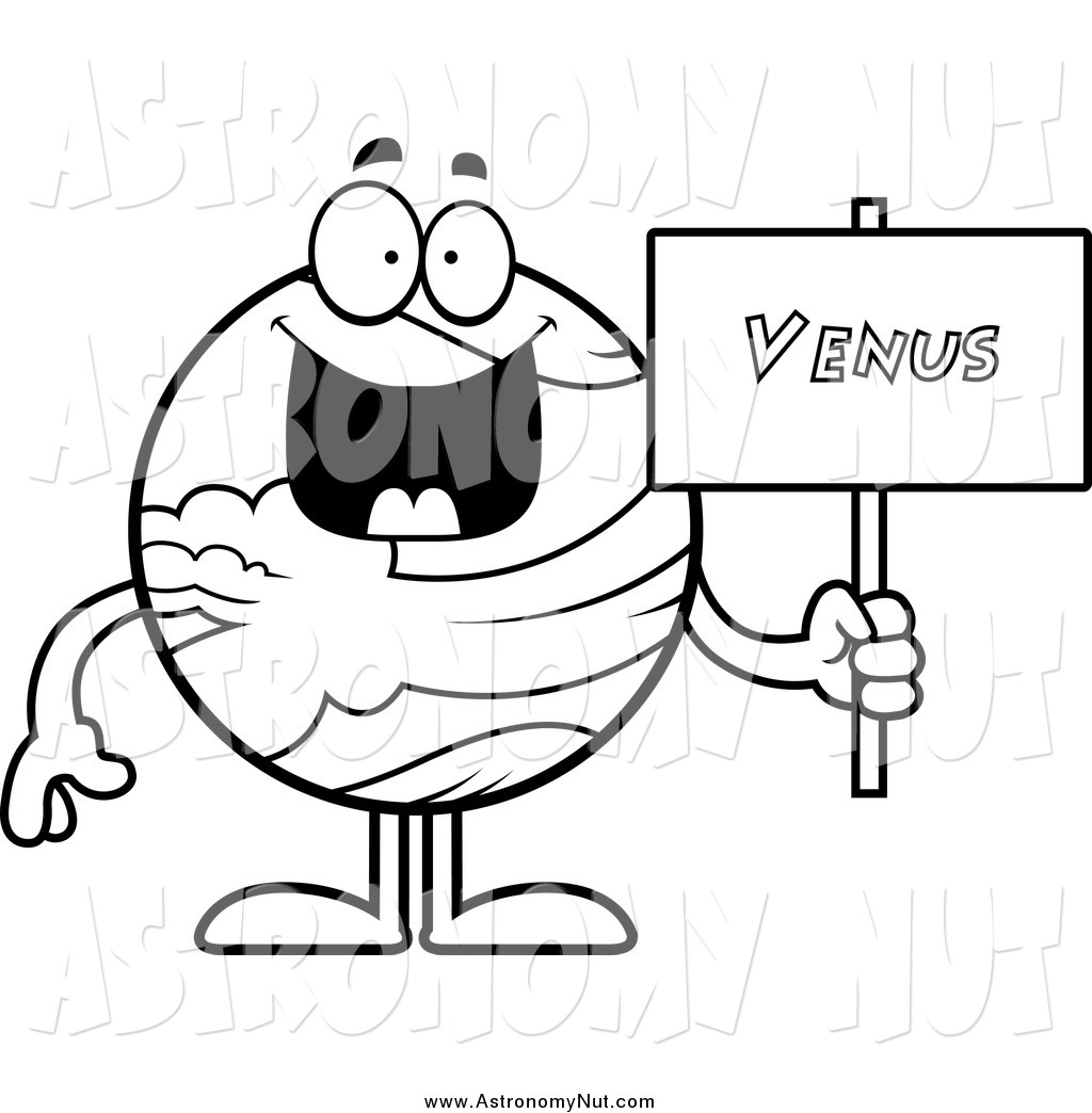 1024x1044 Clipart Of A Black And White Happy Planet Venus Holding Sign By