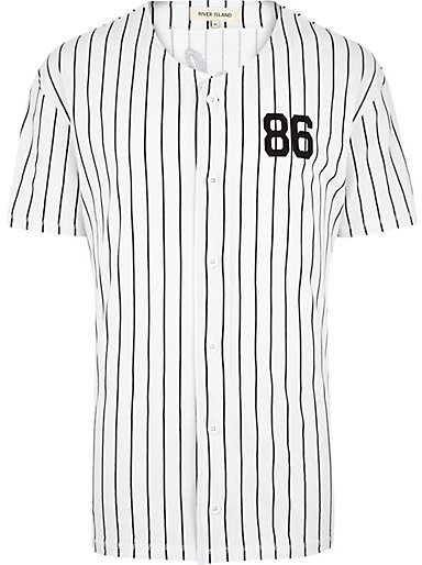 384x514 River Island White Stripe Button Down Baseball T Shirt Where
