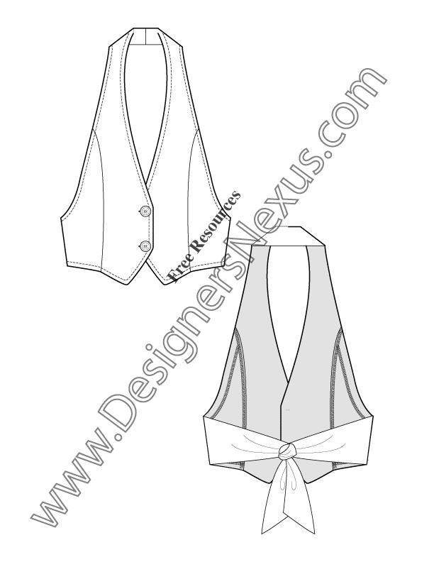 612x792 Free Downloads Illustrator Vest Flat Sketches