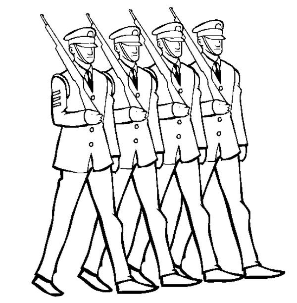 600x612 Celebrating Veterans Day By Marching In Uniform Coloring Page