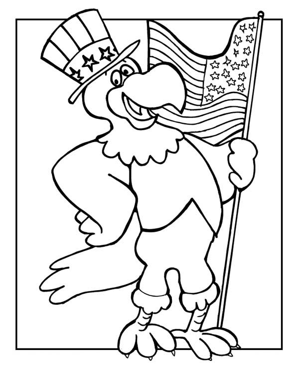 600x732 The Eagle Holding Us Flag Celebrating Veterans Day Coloring Page