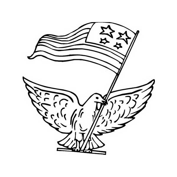 600x600 A Pigeon With Us Flag Celebrating Veterans Day Coloring Page