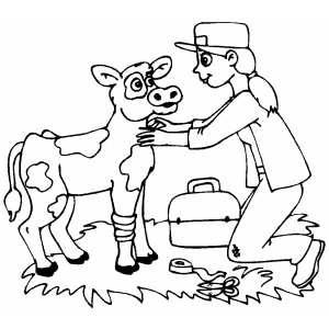 300x300 Veterinarian Helping Wounded Cow Coloring Page Preschool