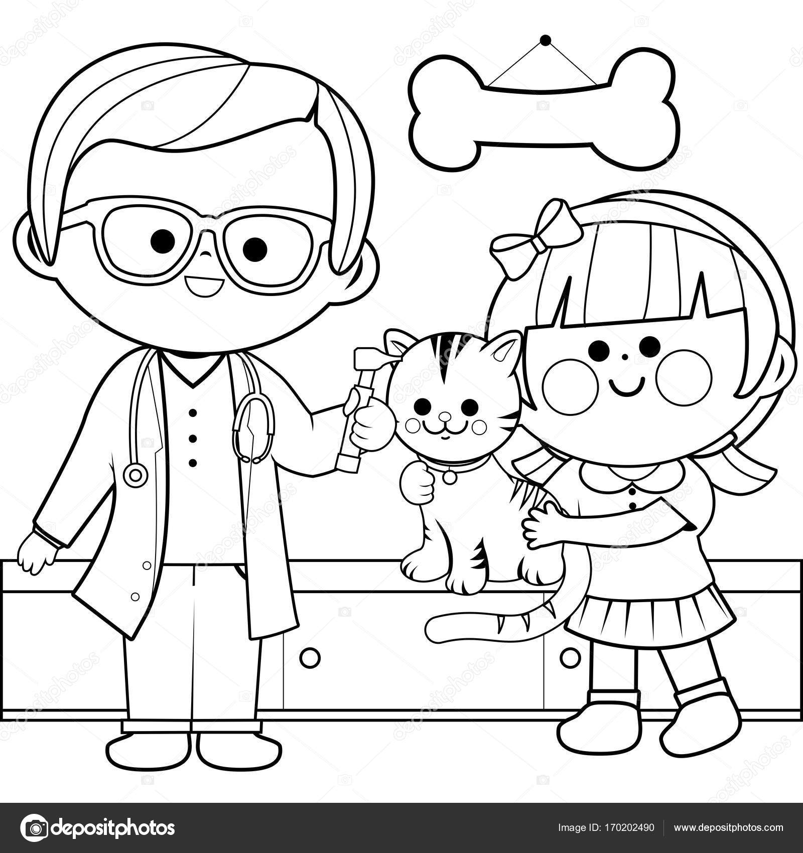 1600x1700 Veterinarian Examining A Cat. Coloring Book Page Stock Vector